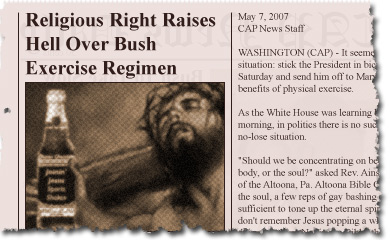 Religious Right Raises Hell Over Bush Exercise Regimen