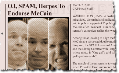 OJ, SPAM, Herpes To Endorse McCain