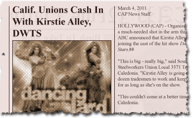 Calif. Unions Cash In With Kirstie Alley, DWTS