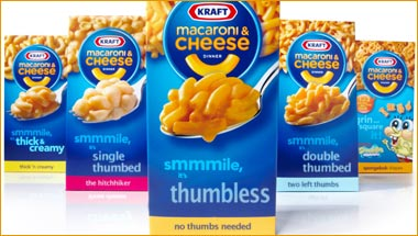 Thumbless Sue Kraft Inc. Over Mac & Cheese Boxes